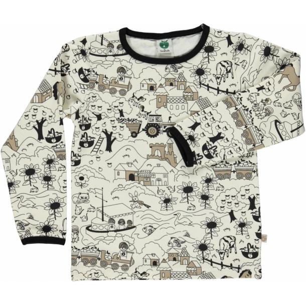 Småfolk - Langærmet t-shirt med landskab (beige)