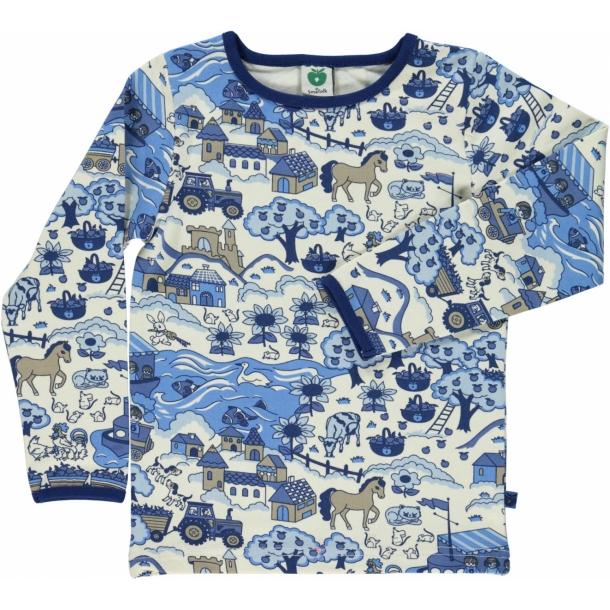 Småfolk - Langærmet t-shirt med landskab (blå)