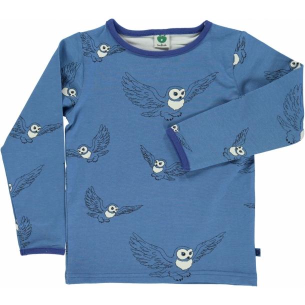 Småfolk - Langærmet t-shirt med ugler (blå)
